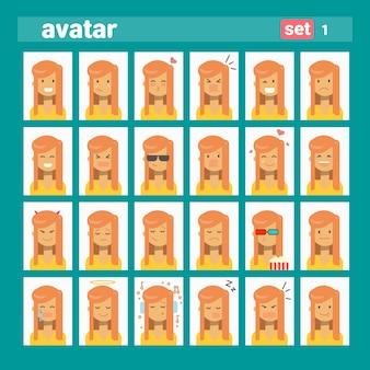 Avatar de perfil de conjunto de emoción femenina diferente, colección de cara de retrato de dibujos animados de mujer