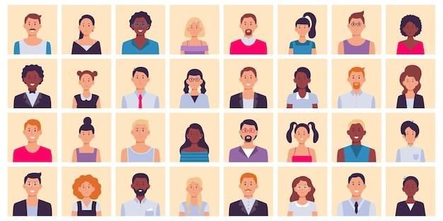 Avatar de personas. conjunto de retratos cuadrados de personas multiétnicas.