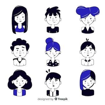 Avatar de personas dibujadas a mano negro y azul