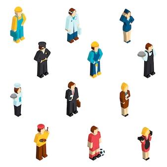 Avatar profesión personajes isométricos