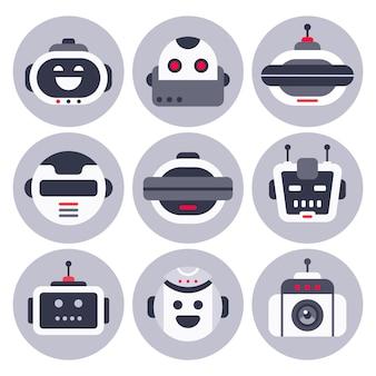Avatar robótico de chatbot, robots de bot de ayuda de chat de computadora y bots de chat digital de asistente virtual aislados