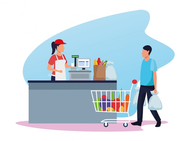 Avatar trabajador de supermercado en caja registradora y cliente con un coche de supermercado lleno de víveres