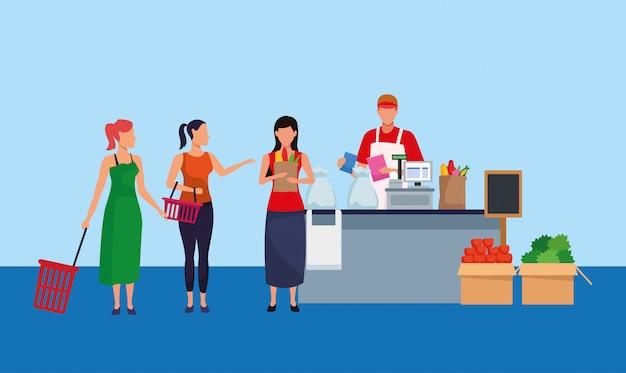 Avatar trabajador de supermercado en caja registradora con clientes mujeres