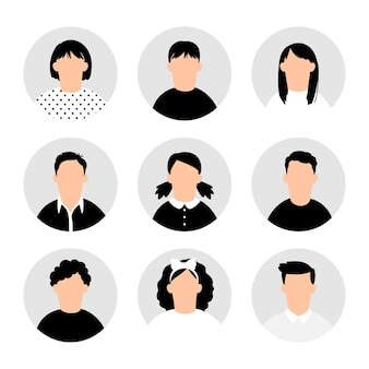 Avatares de adolescentes. avatar de personas adolescentes en blanco, imágenes vectoriales de perfil de adolescente, conjunto de imágenes de dibujos animados de niños y niñas adolescentes, colección de retratos de hombres y mujeres jóvenes