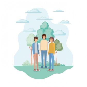 Avatares aislados de hombres en el parque.