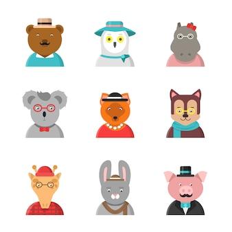 Avatares animales, lindos animales hipster zorro oso perro jirafa búho en ropa divertida y accesorios personajes planos