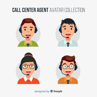 Avatares de call center en estilo flat