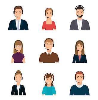 Avatares del centro de llamadas en la ilustración de los operadores de auriculares