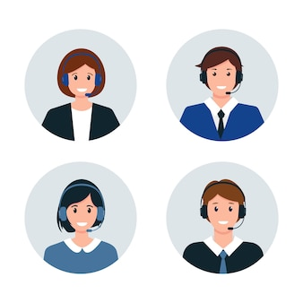 Avatares de centro de llamadas o servicio al cliente. personajes masculinos y femeninos en auriculares.