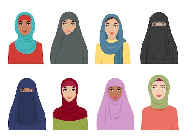 Avatares de chicas musulmanas. moda islámica para mujeres, turco, árabe y árabe pañuelo hidjab en varios tipos. mujer árabe plana