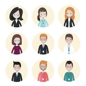Avatares de gente de negocios de dibujos animados