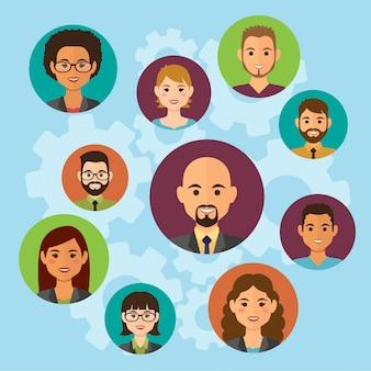 Avatares de gente de negocios en la nube. avatares de trabajo en equipo