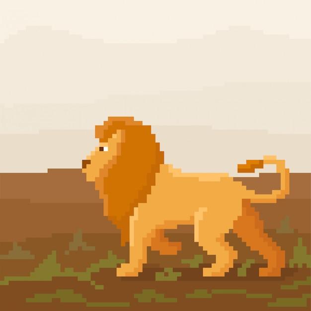 Avatares lindos de píxeles cuadrados. león de dibujos animados brillante ilustración de 8 bits.