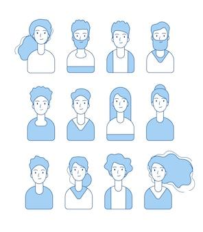 Avatares de línea azul. varias caras divertidas anónimas de personajes masculinos y femeninos para la colección de perfiles de internet. avatar masculino y femenino, usuario azul