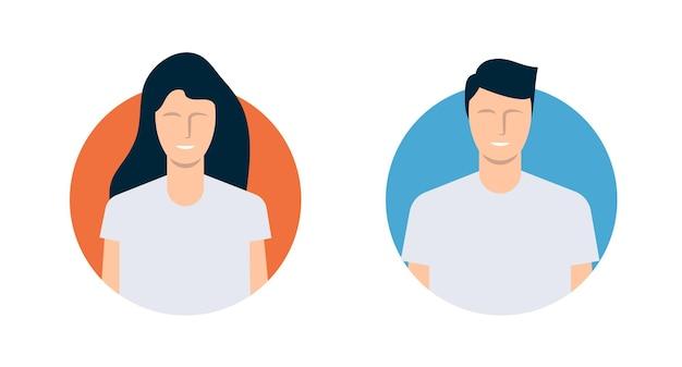 Avatares modernos de hombre y mujer. diseño plano. ilustración vectorial