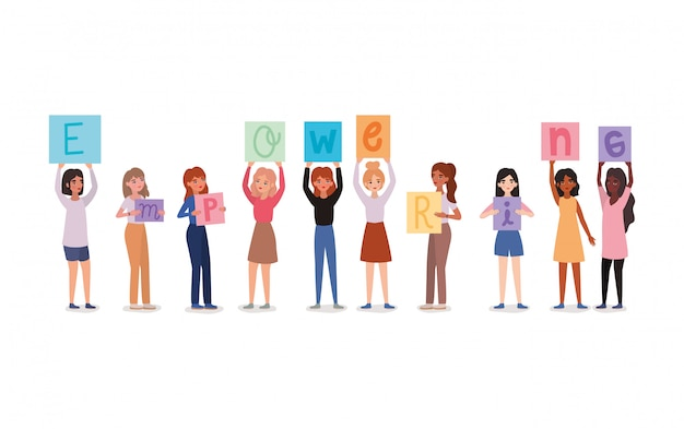 Avatares de mujeres sosteniendo pancartas de texto de empoderamiento