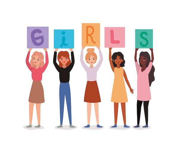 Avatares de mujeres sosteniendo pancartas de texto de niñas