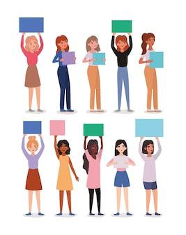 Avatares de mujeres sosteniendo pancartas