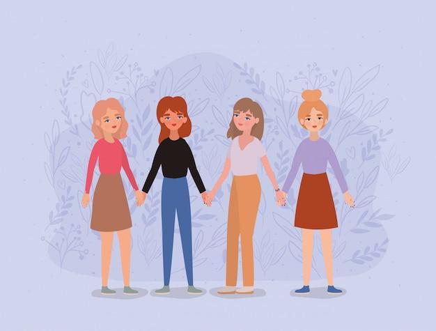 Avatares de mujeres tomados de la mano