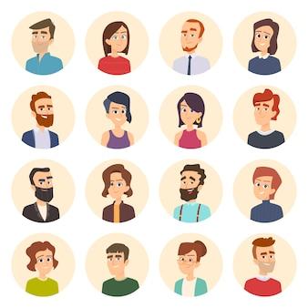 Avatares de negocios. imágenes web en color de retratos de gerentes de oficina masculinos y femeninos en estilo de dibujos animados