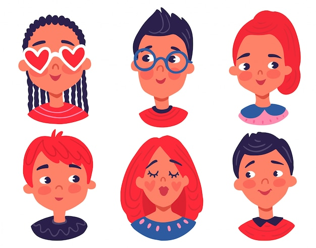 Avatares de personajes en estilo plano de dibujos animados. niños y niñas retratos dibujados a mano.