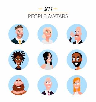 Avatares de personajes en estilo plano de dibujos animados.