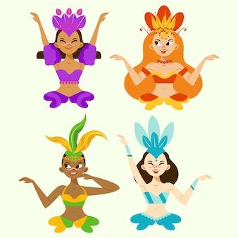 Avatares de personajes de mujeres hermosas bailarinas