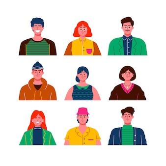 Avatares de personas aisladas sobre fondo blanco.