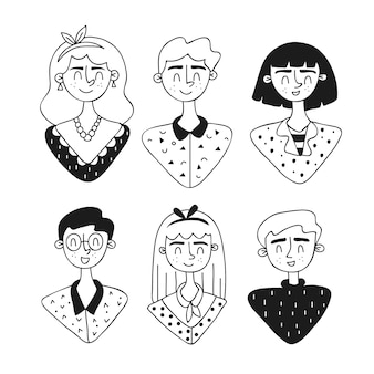 Avatares de personas diseño dibujado a mano