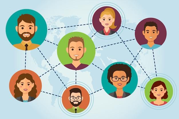 Avatares de personas en la nube red de medios sociales