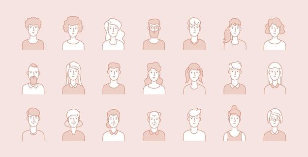 Avatares de personas. rostros corporativos de negocios modernos, retratos femeninos masculinos de línea. usuarios de edades jóvenes, adultos y ancianos, conjunto de vectores de caracteres de contorno moderno. ilustración cara mujer y hombre