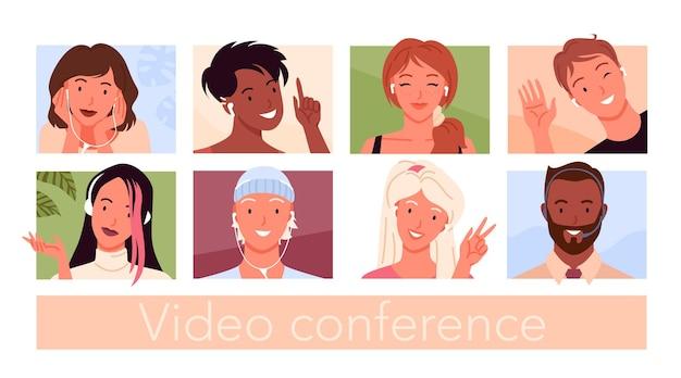 Avatares de personas para videoconferencia y conjunto de ilustraciones de chat de redes sociales.