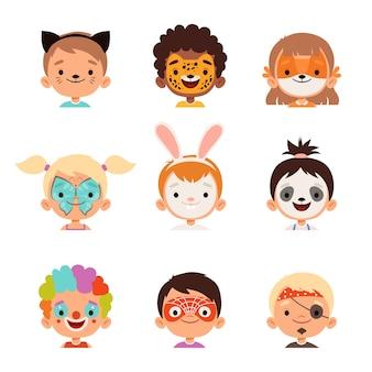 Avatares de pintura facial. colección de dibujos de maquillaje creativo de retratos felices para niños. cara de maquillaje, niña de dibujos animados y disfraz de niño en ilustración de máscara