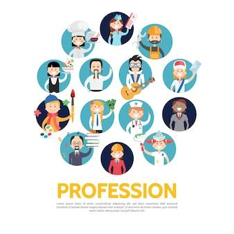 Avatares de profesión ambientados en estilo plano