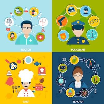 Avatares de profesiones con conjunto de composición de elementos.