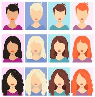 Avatares sin rostro de mujer. retratos anónimos humanos femeninos, iconos de avatar de perfil rectangular de mujer, imágenes principales de usuarios de sitios web.