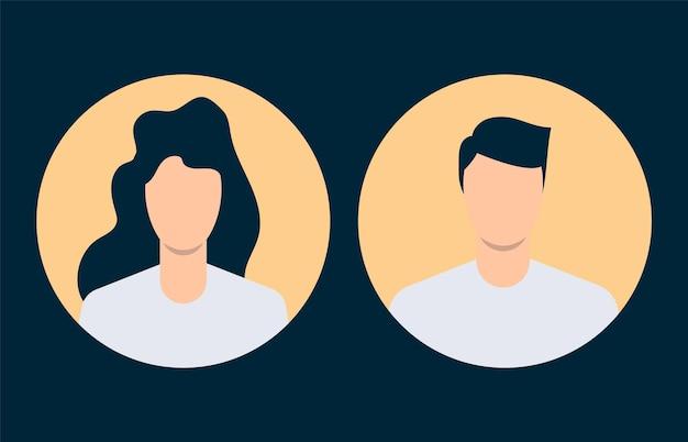 Avatares simples de hombre y mujer. diseño plano. ilustración vectorial