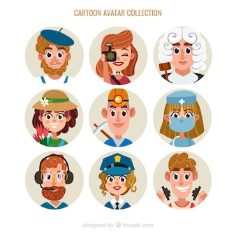 Avatares de trabajadores con estilo de dibujo animado