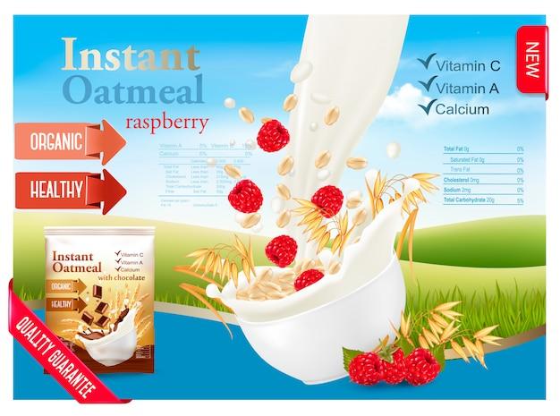 Avena instantánea con concepto de publicidad de fresa. leche que fluye en un recipiente con granos y bayas. .