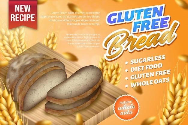 Avena natural fresca pan integral puesto en tablero de madera