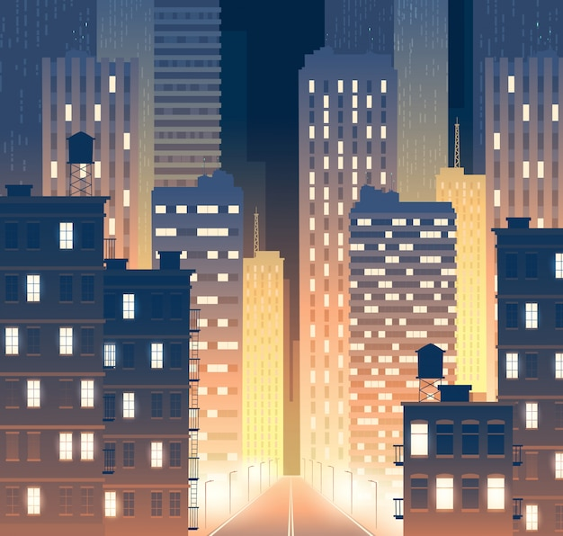 Avenida con edificios modernos por la noche. fondo de carretera con postes de luz.