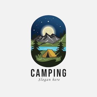 Aventura y camping al aire libre con logo retro.