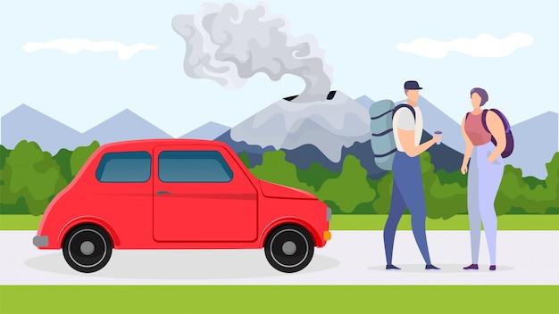 Aventura en coche cerca de la montaña, ilustración. viaje de carácter de pareja turística en vacaciones, viaje de vacaciones con transporte.