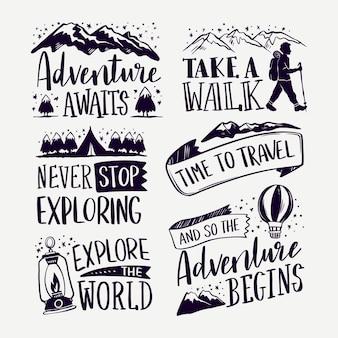 La aventura comienza con letras de camping.