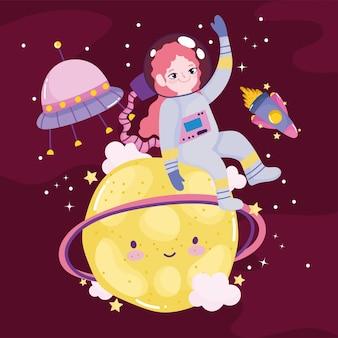 Aventura espacial dibujos animados lindo astronauta lanzadera planeta ovni y luna