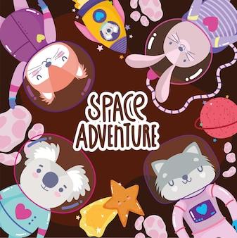 Aventura espacial explorar dibujos animados de animales en ilustración de trajes espaciales