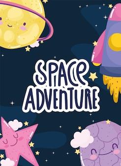 Aventura espacial lanzamiento nave espacial explorar planetas estrella linda caricatura