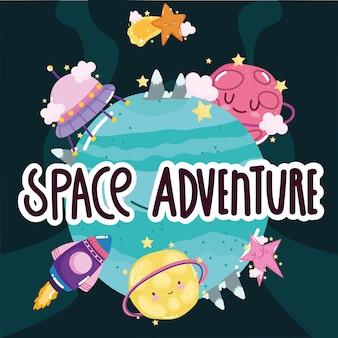 Aventura espacial nave espacial planeta ovni estrella superficie explorar dibujos animados lindo