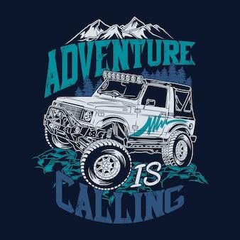 La aventura está llamando citas offroad diciendo aventura explorar