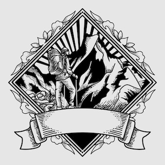 Aventura de logo vintage dibujado a mano